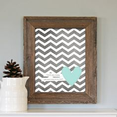 Every Beat of My Heart - Love Wedding Nursery Gray Grey Chevron Aqua Heart - Love Art Print. $15.00, via Etsy.