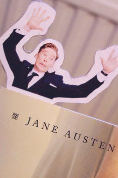 Benedict Cumberbatch photobomb bookmark. Yes please!