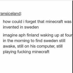 imagine sealand waking up at five in the morning to find sweden playing minecraft on his laptop because finland took away sweden's computer