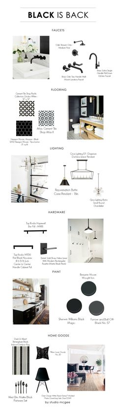 Huge post filled with inspiration for all areas of the home... Interiors with black accents. Black hardware. Black faucet. White and black patterned tiles. Black lighting. Black cabinet hardware. Black lighting. Black paint color. Black home decor. Studio McGee.