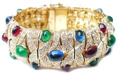 ciner jewelry | CINER 'Jewels of India' Ruby, Sapphire, Emerald Cabochon Simulated ...
