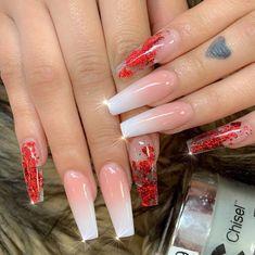 post by Tammy Le Jun Long Nail Designs, Acrylic Nail Designs, Red Nail Designs, Red Acrylic Nails, Summer Acrylic Nails, Red Ombre Nails, Red Tip Nails, Summer Nails, Aycrlic Nails