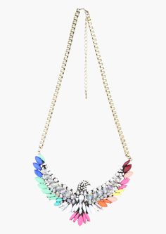 I haven't been a huge fan of the giant eagle bird necklace trend, but this one I really love, girl colors do it for me every time!