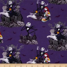 Tim Burton's The Nightmare Before Christmas Allover Purple from @fabricdotcom  Designed by Disney and licensed to Springs Creative Products, this cotton print fabric is perfect for quilting, apparel and home decor accents. Colors include black, dark teal, yellow, white, shades of purple, shades of grey, and shades of red. Due to licensing restrictions, this item can only be shipped to USA, Puerto Rico, and Canada.