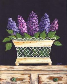 Lilacs Folk Art Print by Kim's Cottage Art Illustrations, Illustration Art, Decoupage Printables, Cottage Art, Arte Popular, Tole Painting, Chalk Art, Painting Patterns, Painting Inspiration