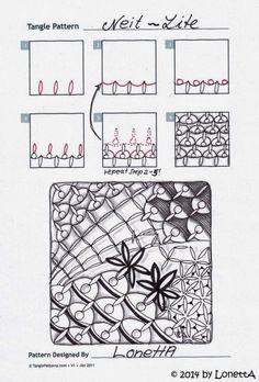 Neit-Lite Zentangle doodles how to Tangle: Pattern Tutorial Zentangle Steps Tangle Doodle, Tangle Art, Zen Doodle, Doodle Art, Zentangle Drawings, Doodles Zentangles, Doodle Drawings, Doodle Patterns, Zentangle Patterns