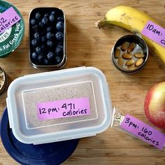 Packing your lunch and snacks for the day is one of the most effective ways to lose weight because it allows you to be in control of the calories you consume. Take your planning one step further by labeling food with the time you should eat it and the number of calories it contains.