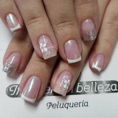 pretty manicure minus the stone & flower though. Diy Nails, Cute Nails, Pretty Nails, Gel Nail Designs, Nail Decorations, Square Nails, Flower Nails, Stylish Nails, French Nails
