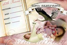 birth certificate sara Birth And Death, Birth Certificate, Reborn Dolls, Little Boys, I Movie, Marriage, Nursery, Personal Care, Template
