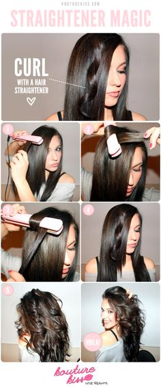 1 512x1228 How To Curl Your Hair With A Straightener Step By Step Diy Tutorial Instructions Hair Styles Curly Hair Styles How To Curl Your Hair