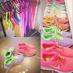 Shoes: nike nike sneakers fluo t-shirt bright neon pastel sports nike free run women cute pretty