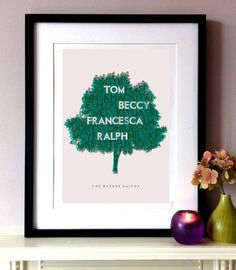 personalised typographic family tree print by pepper print shop   notonthehighstreet.com