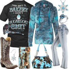 This Isn't A Bakery Blue Burnout Hoodie Outfit - Real Country Ladies