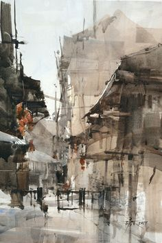 cThe next town of the town sketching 54 x 36 cm. Watercolor Demo by 簡忠威 (Chien Chung-Wei)