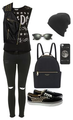 """Gothic"" by thaisa-tcs ❤ liked on Polyvore featuring Topshop, Miss Selfridge, Henri Bendel, Ray-Ban, Forever 21 and Vans"