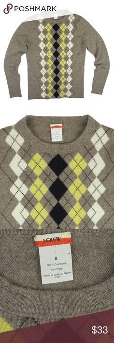 "JCREW 100% Cashmere Oatmeal Argyle Crew Sweater Excellent condition! This cashmere sweater from JCREW features a crew neckline. Colors are: oatmeal beige, mustard yellow, Ivory, navy blue and brown. Measures: bust: 34"", total length: 23.5"", sleeves: 24"" J. Crew Sweaters Crew & Scoop Necks"