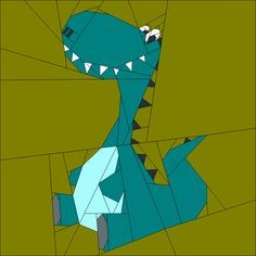 """Dino 2 12"""" (30cm) paper pieced quiltartdesigns.blogspot.com"""