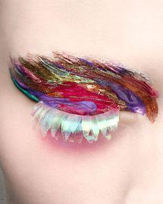 rainbow fashion eyes Glitter makeup colorful paint sparkle Make up eyeshadow editorial eye makeup false lashes fake eyelashes nk stil Eye Makeup, Hair Makeup, Crazy Makeup, Makeup Looks, Make Carnaval, Couture Makeup, Dior Couture, Fantasy Makeup, Creative Makeup