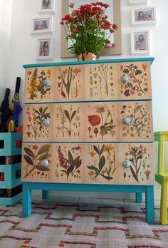 ikea tarva dresser with botanical print DIY