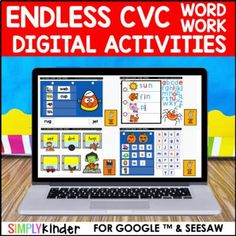 Digital Word Work - CVC (Endless) : Google & Seesaw : Kindergarten & First Grade