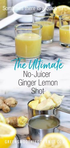 Ginger Lemon Shots Blender Recipe – Green Smoothie Gourmet Ginger-Lemon Shots without a juicer! Sometimes there IS a quick fix! Easy Detox, Healthy Detox, Healthy Drinks, Healthy Water, Healthy Smoothies, Smoothie Vert, Smoothie Fruit, Detox Juice Recipes, Blender Recipes