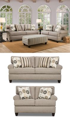 The Olivia Collection by Corinthian Furniture demonstrates a casual style that is well-designed. The neutral grey Polyester fabric is decorated with throw pillows in stripe and floral patterns to give your living room the style you've been wanting. This American-made collection is constructed of hardwoods and poly-dacron filled cushions to support you with years of comfort. Browse other items in this collection online or in-store at Great American Home Store in Memphis, TN, and Southaven, MS.