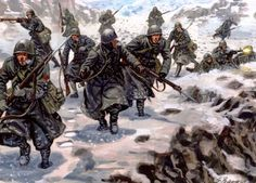 Italians in the mountains between Greece and Albania, in the disastrous adventure of the Duce, winter of 1940-41