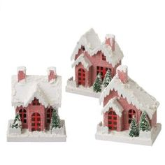 CC Christmas Decor Set of 3 Large Snow Covered Pink Houses Decorative Table Top Figurines