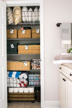 Linen Closet Organization with Pottery Barn, Waiting on Martha   Rustic White Photography   Write on Design tags
