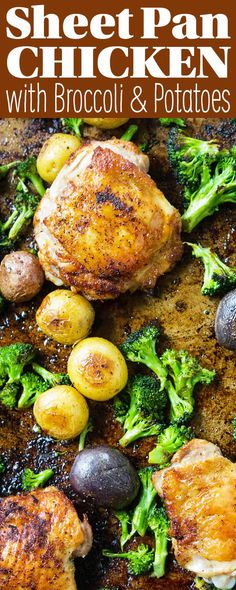 Sheet Pan Chicken With Roasted Potatoes And Broccoli Everything Cooks Together On One Baking Sheet - So Easy. Utilize Chicken Thighs For Tender, Juicy Results Every Time. Broccoli And Potatoes, Chicken Potatoes, Roasted Potatoes, Chicken Thigh Broccoli Recipe, Broccoli Recipes, Potato Recipes, Roasted Chicken Thighs, Baked Chicken, Oven Chicken