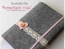 Buchhülle Romantisch Rosa Filz Kalenderhülle