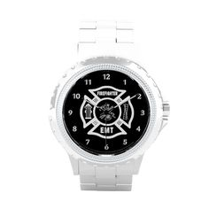 Shop Firefighter EMT Wrist Watch created by bonfirefirefighters. Firefighter Watches, Firefighter Family, Firefighter Gifts, Wrist Watches, Rolex Watches, Ems Shirts, Personalised Gift Shop, White Enamel, Michael Kors Watch