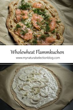 """A delicious breakfast or brunch - homemade Alsatian flatbread """"flammkuchen"""" (or tarte flambée) on wholewheat crust with smoked salmon with dill. French Food At Home, Alsatian, Savoury Baking, Natural Selection, Smoked Salmon, Kale, Vegetable Pizza, Baking Recipes, Brunch"""