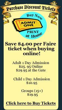 Pennsylvania Renaissance Faire - Weekends Plus Labor Day Monday - August 4 - October 28 - Manheim, PA