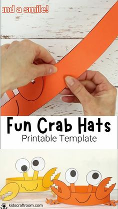 Celebrate Summer with Cute And Fun Crab Hats! These crab headbands are adorable and easy to make with the printable crab craft template. Such a fun ocean and Summer beach craft for kids. #kidscraftroom #kidscrafts #crabs #crabcrafts #Summercrafts #oceancrafts #papercrafts Beach Crafts For Kids, Summer Crafts For Toddlers, Summer Arts And Crafts, Summer Crafts For Kids, Summer Activities For Kids, Toddler Crafts, Family Activities, Crab Crafts, Headband Crafts