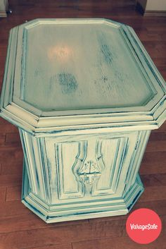 "Refinished side table, done with Annie Sloan chalk paint ""Duck Egg"", then distressed to show original dark coming through. 19.5"" high, 19"" wide, 26"" deep. Asking $115. Find this and other great deals locally in your community on www.varagesale.com"