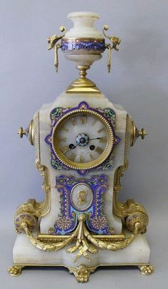 Champleve enamel and ormolu clock, century. Unique Clocks, Cool Clocks, Vintage Clocks, Retro Clock, Mantel Clocks, Clock Decor, French Clock, Classic Clocks, Father Time