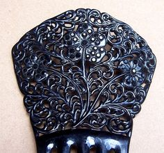 Hair comb, Victorian celluloid French jet mourning (e)
