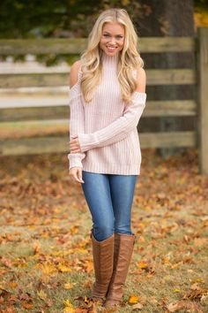 This beautiful cold shoulder sweater is such a cute way to rock this fall trend! We love the soft and stretchy knit material paired with a lovely shade of light dusty pink - it's so delicate and beautiful!