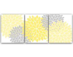 Pale Yellow Gray Flower Burst Wall Art by PurpleChickletPrints