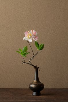2012年6月21日(木)   山の気配を残しています。ほのかな赤もはにかみのよう。   花=蓮華躑躅(レンゲツツジ)   器=金銅華瓶(鎌倉時代)