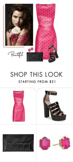 """""""Black and Pink"""" by soleuza ❤ liked on Polyvore featuring Yves Saint Laurent, Steve Madden, Gucci and Kendra Scott"""