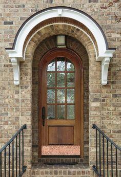 Hammered Copper Kick Plate by Deck the Door Decor on Tudor 1 Front Door Overhang, Front Door Awning, Arched Front Door, Front Door Canopy, Arched Doors, Front Door Decor, Painted Exterior Doors, Garage Exterior, House Entrance
