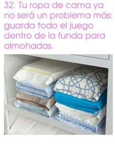 HOUSEHOLD TIP! Fold your sheets and put them in one of the matching pillow cases for a neat and tidy shelf. Next time you need a change of bed sheets, everything is easily accessible! Need A Change, Neat And Tidy, Clean House, Bed Sheets, Shelving, Pillow Cases, Household, Towel, Crafty