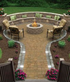 My dream is to have an outdoor fire pit with built in seating in my backyard. This one looks amazing! My dream is to have an outdoor fire pit with built in seating in my backyard. This one looks amazing! Outdoor Spaces, Outdoor Living, Outdoor Decor, Outdoor Pool, Outdoor Ideas, Outdoor Kitchens, Outdoor Fire Pits, Indoor Outdoor, Outdoor Playset