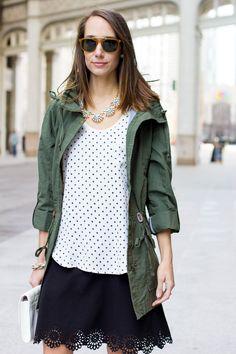Green @Loft Anorak, Lasercut Skirt & Dotted Tank | www.thefoxandshe.com