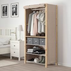 IKEA - IVAR, Shelving unit w shelves/rails/cover, beige, Untreated solid wood is a durable natural material which is even more hardwearing and easy to look after if you oil or wax the surface. You can move shelves and adapt spacing to suit your needs. Metal Shelving Units, Wire Shelving, Ikea Brusali, Ivar Regal, Simple Wardrobe, Clothes Rail, White Desks, Solid Wood, Solid Pine