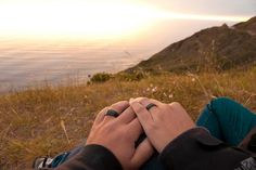 After the wedding in the soft light of sunset; Mike and Angel and their Touch Wood Rings.