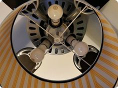 Ceiling Fan Makeover drum shade with picture wire