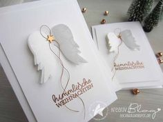 weihnachten engel He - Christmas Tag, Christmas Crafts, Christmas Decorations, Diy Crafts To Do, Paper Crafts, Stampin Up Weihnachten, Winter Cards, Handmade Birthday Cards, Sympathy Cards